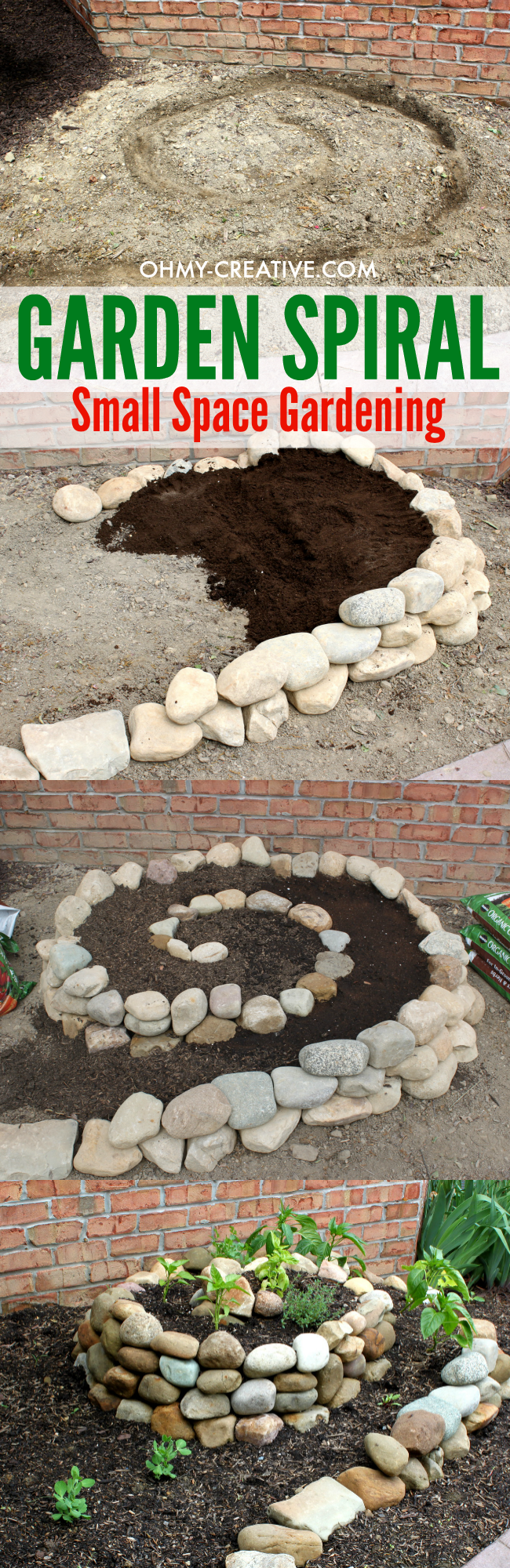 This Garden Spiral is a great way to create a vegetable garden when you only have a small space to work with. Plus it looks pretty in the yard - a great conversation piece!  |  OHMY-CREATIVE.COM