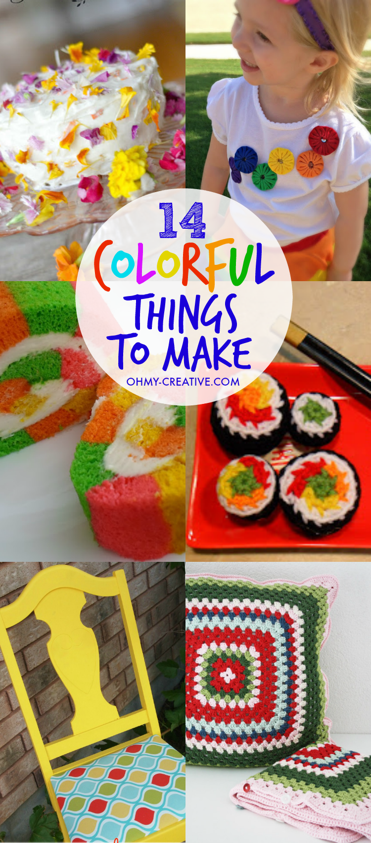 I love a pop of color! A bright hue stands out anywhere - from home decor, pretty dessert or a kids craft! That's why I love these 14 Colorful DIY Craft Trends and colorful things to make!     OHMY-CREATIVE.COM