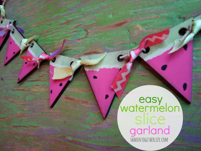 easy watermelon slice garland tutorial at shakentogetherlife.com