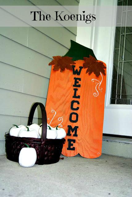 Pumpkin front porch wooden sign