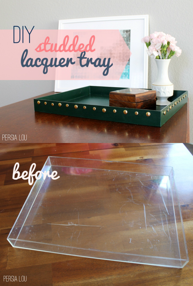 This DIY Studded Lacquer Tray is any easy trash to treasure project! For just a few dollars you can turn an old picture frame into a useful way to stay organized - plus it makes a pretty decor accent!  |  OHMY-CREATIVE.COM