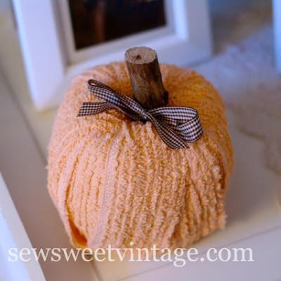 Vintage chenille pumpkin