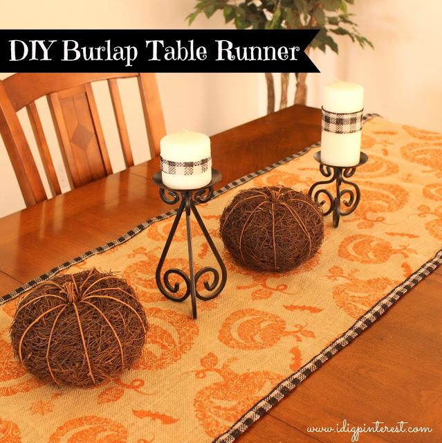 fall burlap table runner