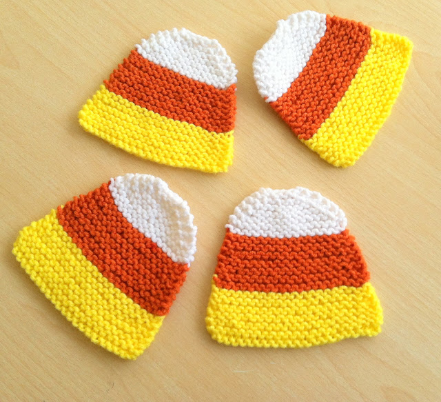 Hand Knit Candy Corn Coasters