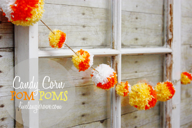 Candy Corn Pom Poms.  Layering the yarn for the perfectly fun and festive candy corn pom pom with livelaughrowe.com