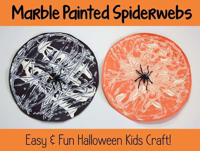 Halloween Kids Craft Marble Painted Spiderwebs
