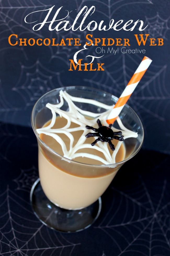 This Spider Web Chocolate Halloween Martinis will make a frightful Halloween cocktail your guest will rave about later! OHMY-CREATIVE.COM #halloweenkidsdrink #chocolatemilk #halloweendrinks #spiderweb #spider #halloweenpartyideas