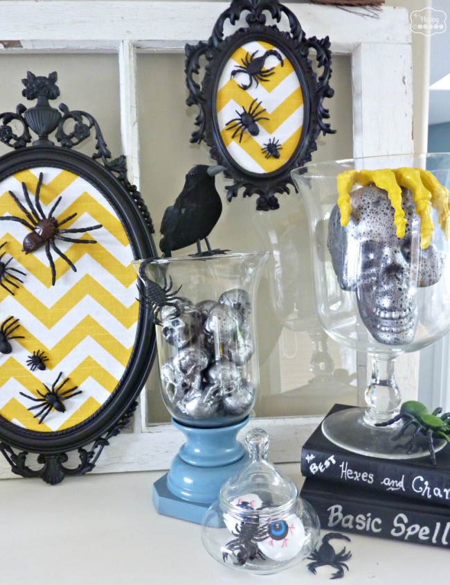 Thifty-Halloween-Mantel-with-DIY-Chevron-Spider-Art-at-thehappyhousie-