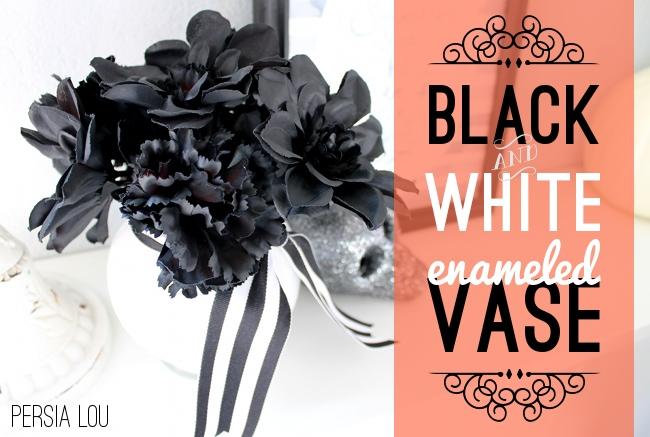 Halloween Black and White Enameled Vase