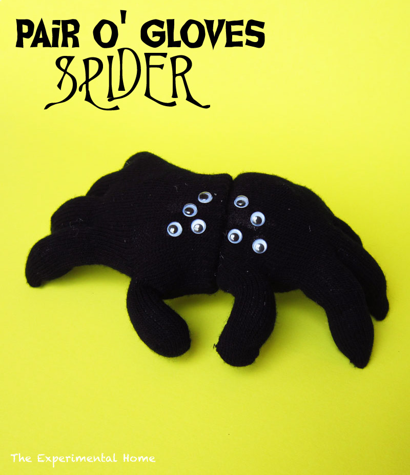 Halloween spiders made from gloves