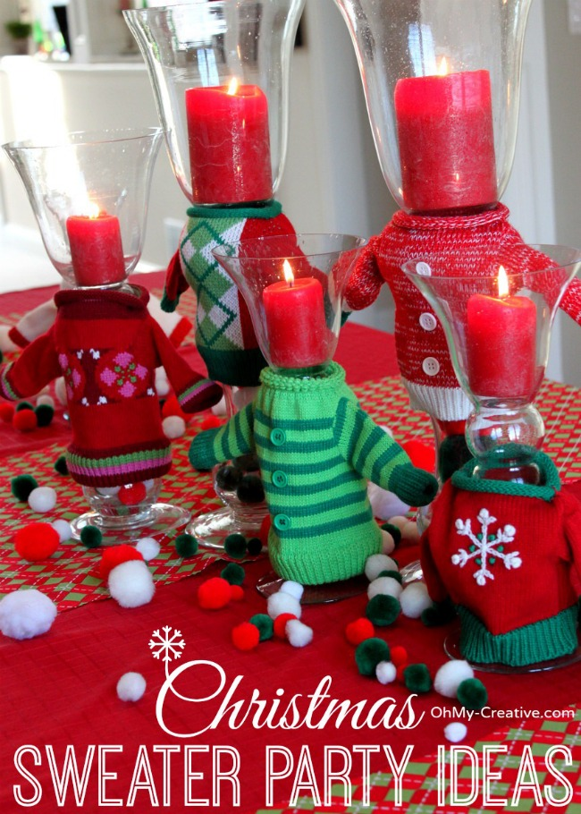 ugly christmas sweater party wine glasses oh my creative. Black Bedroom Furniture Sets. Home Design Ideas