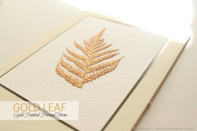 Gold Painted Pressed Ferns via homework