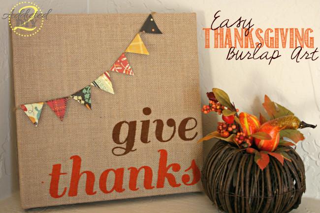 Thanksgiving Give Thanks Burlap Decor