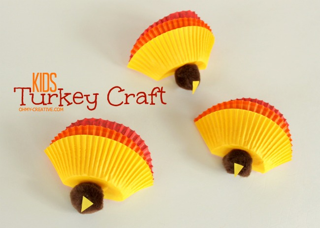 Kids thanksgiving turkey craft oh my creative for Thanksgiving day craft ideas
