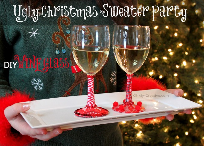Ugly Christmas Sweater Party Wine Glasses