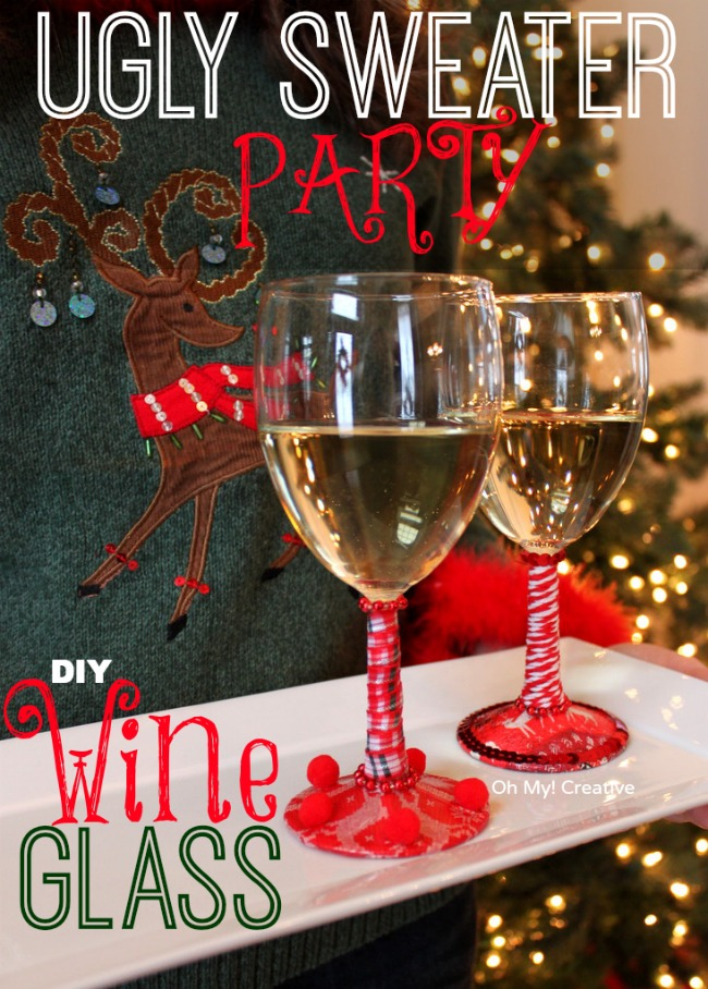 Awesome Creative Christmas Party Ideas Part - 10: Ugly Christmas Sweater Party DIY Wine Glasses - OhMy-Creative.com