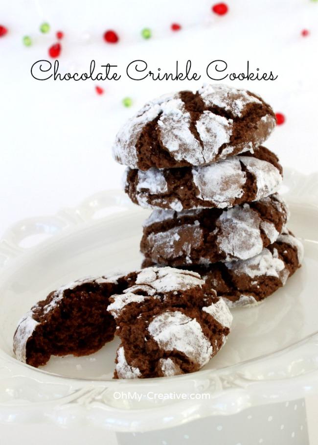 Chocolate Crinkle Cookies Recipe | OhMy-Creative.com