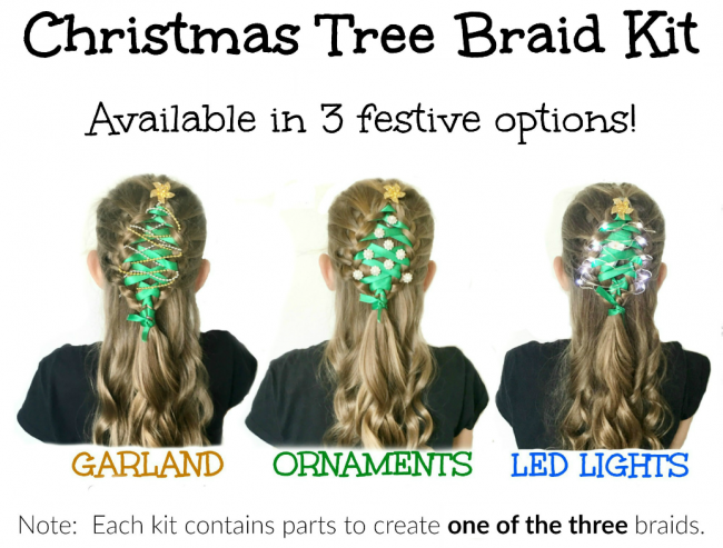 Christmas Tree Hair Braid Kits for festive Christmas hairstyles - great for Ugly Sweater Parties too!   OHMY-CREATIVE.COM