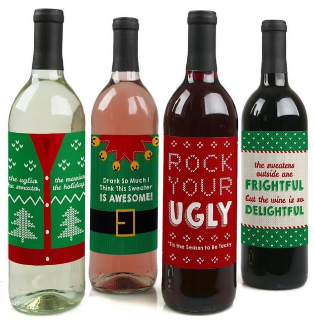 Christmas Wine Bottle Labels