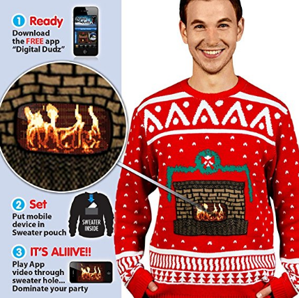 Digital Dudz Fireplace Ugly Christmas Sweater
