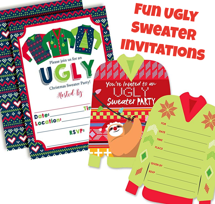 Funny Ugly Christmas Sweater Party Invitations
