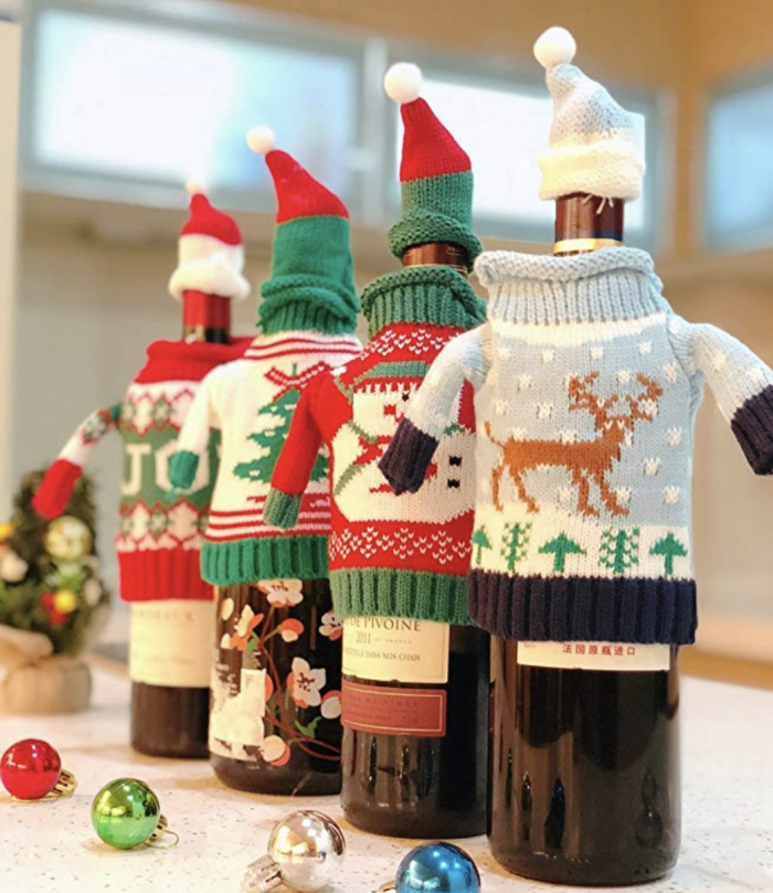 ugly sweater wine bottle covers