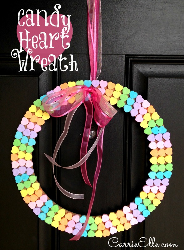 Candy-Conversation Heart-Wreath-Craft