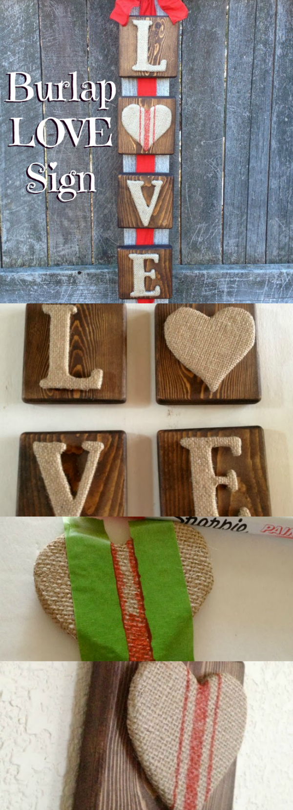 Burlap Letter Wooden Sign For Valentine\u0027s Day - Oh My Creative