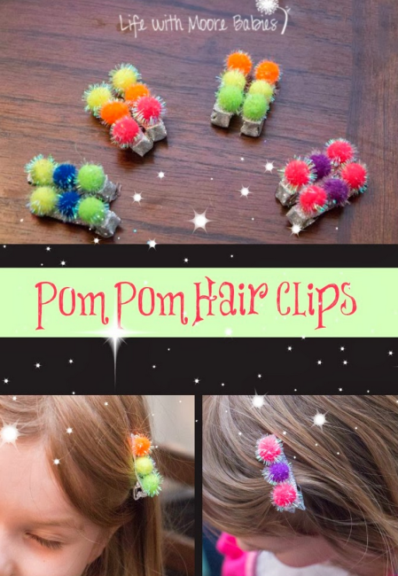 Girls Pom Pom Hair Clips