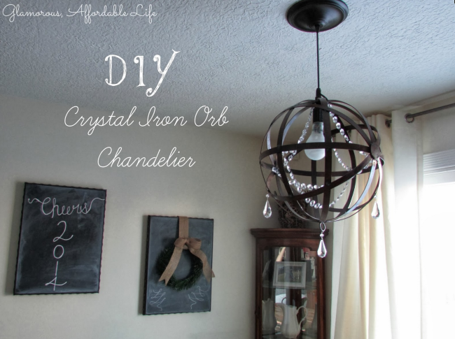 DIY Crystal Iron Orb Chandelier