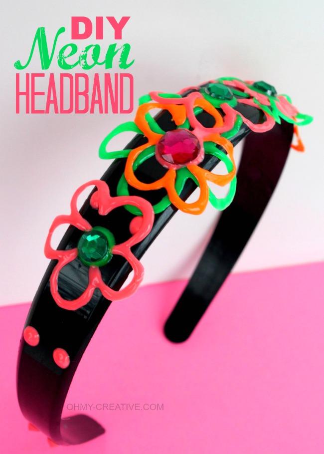 DIY Neon Headband   OHMY-CREATIVE.COM #TulipNeon
