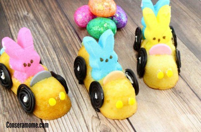 Create peep racers with Twinkies, Bunny Peeps, licorice, and nico wafer candy
