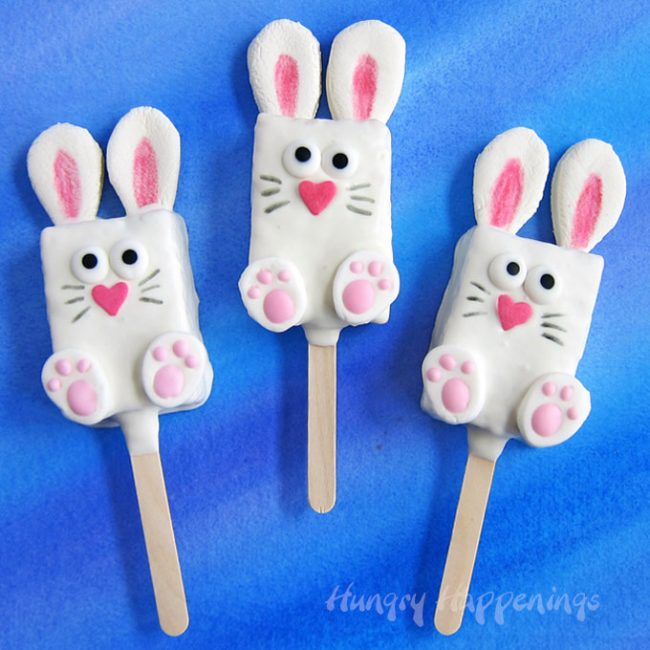 Rice Krispie Treats molded into Bunny shapes complete with ears, noses, feet, and noses