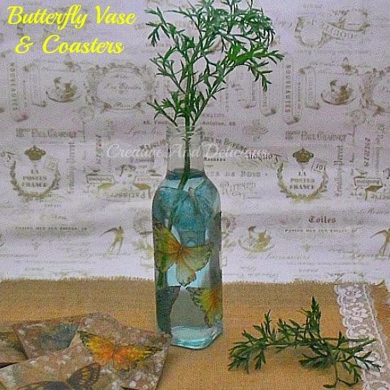 Decoupage Butterfly Vase & Coasters