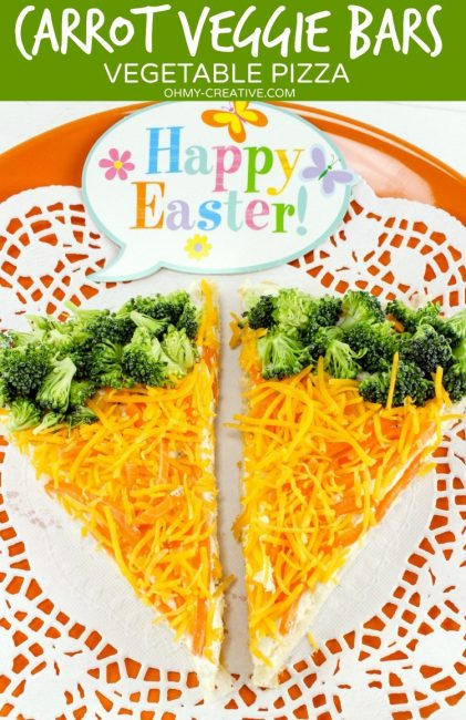 """Easter Vegetable Pizza featuring broccoli and cheese in a creative healthy """"rabbit"""" like treat"""