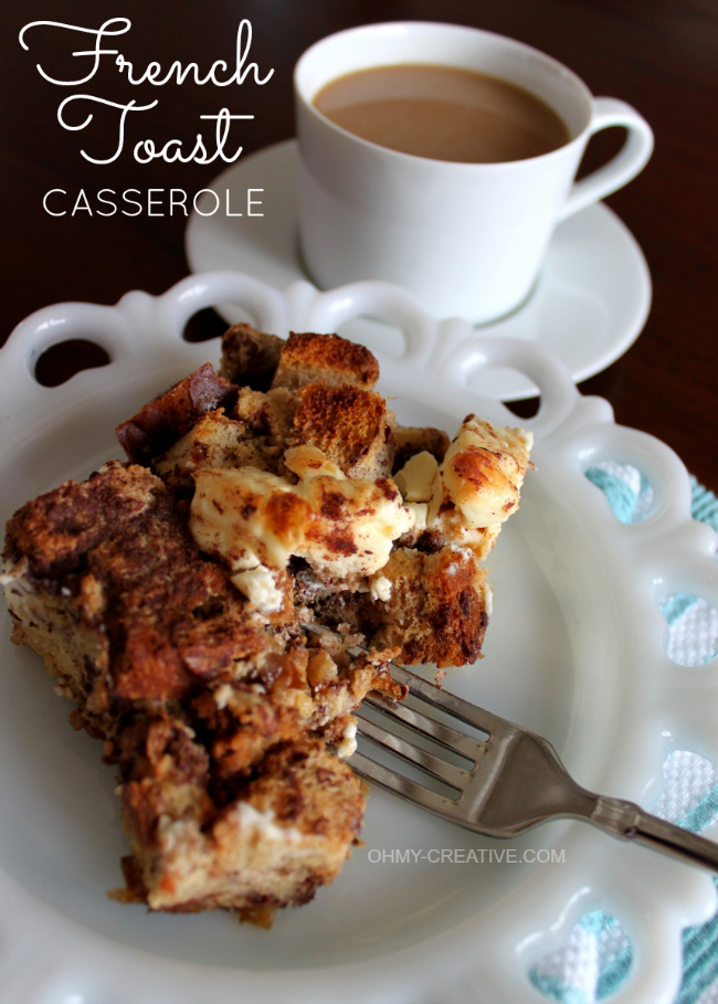 French Toast Casserole  |  OHMY-CREATIVE.COM  #BreakfastRecipe