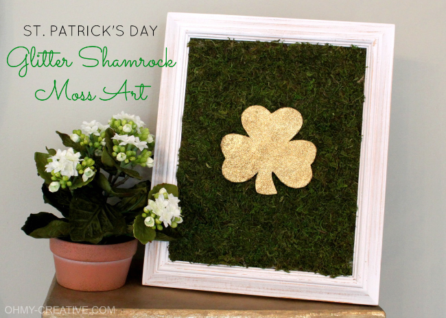 St. Patrick's Day Glitter Shamrock Moss Art