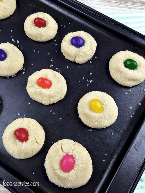 Simple sugar cookies with an added centerpiece of colorful jelly beans and sugar