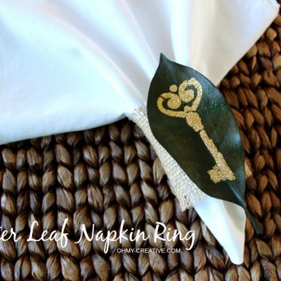 Glitter Leaf Napkin Rings Tutorial