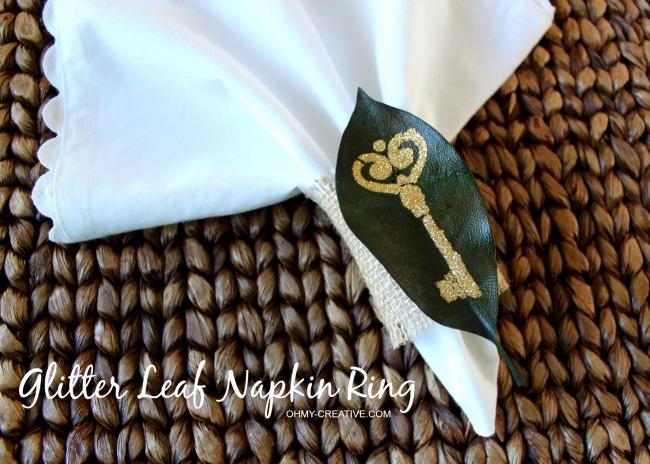 How to make a Glitter Leaf Napkin Rings using Mod Podge stencils | OHMY-CREATIVE.COM