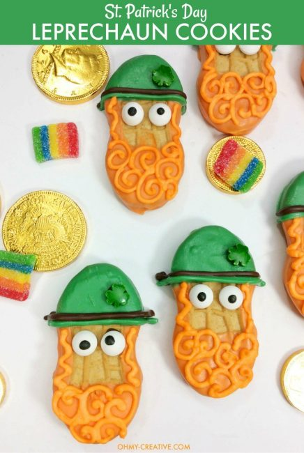 Leprechaun Cookies made from Nutter Butter cookies and colorful candy melts for decorating.