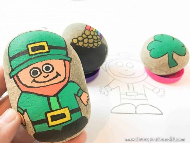 Leprechaun Rock Craft made with paint markers and sketches on rocks