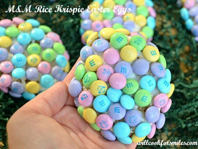 Rice Krispie Treats made into egg shapes and covered in Easter pastel M&M candy