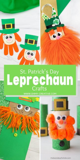 Leprechaun Craft ideas for the whole family to make featuring crafts made with handprints, toilet paper rolls, and more