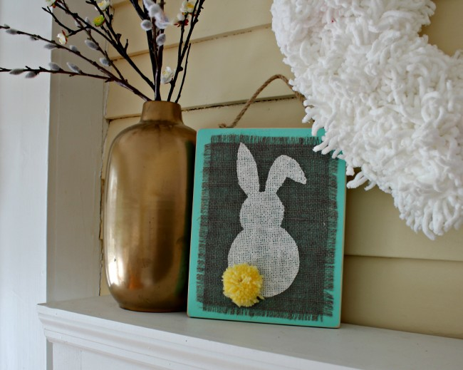 Check out our fun Easter craft! This Easy Stenciled Burlap Bunny Plaques are ideal for hanging in your home for Spring and Easter! OHMY-CREATIVE.COM #easterdecorations #easterdecor #bunny #springdecorations #springdecor #springdecorating #easter