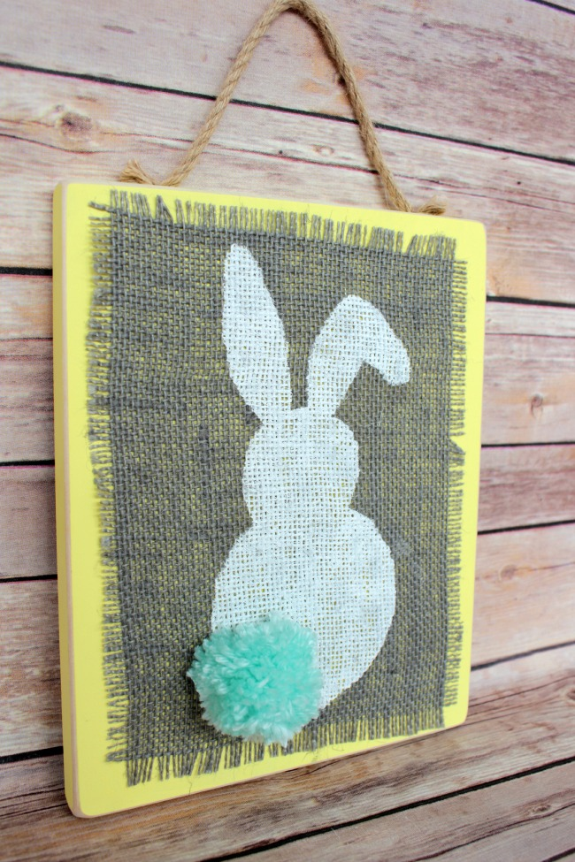 Easter Craft Stenciled Burlap Bunny Plaques Oh My Creative