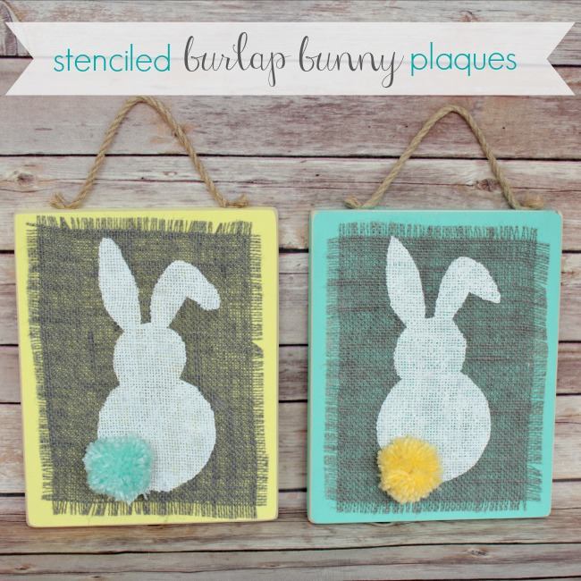 Easter Craft Stenciled Burlap Bunny Plaques