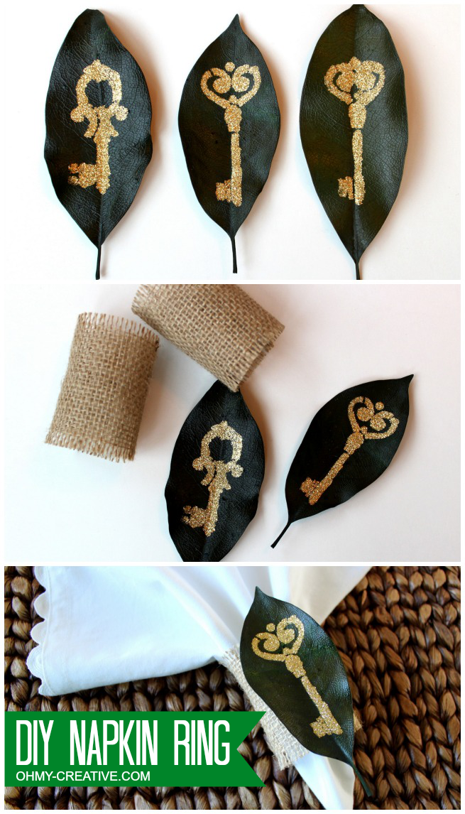 Check out our great Glitter Leaf Napkin Rings Tutorial to make fun napkin rings perfect for any occasion!