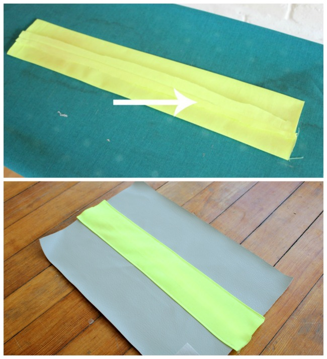 SEW NEON STRIP, ATTACH TO FRONT OF LEATHER