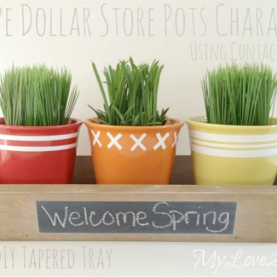 DIY Tapered Tray And Upcycled Ceramic Pots Dollar Store Crafts